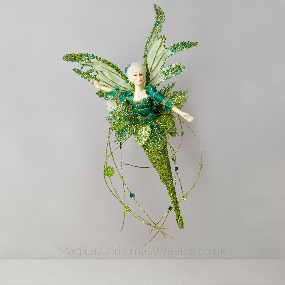 Elegant Green Christmas Flower Fairy ornament