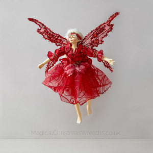 Red Christmas Fairy Doll Ornament