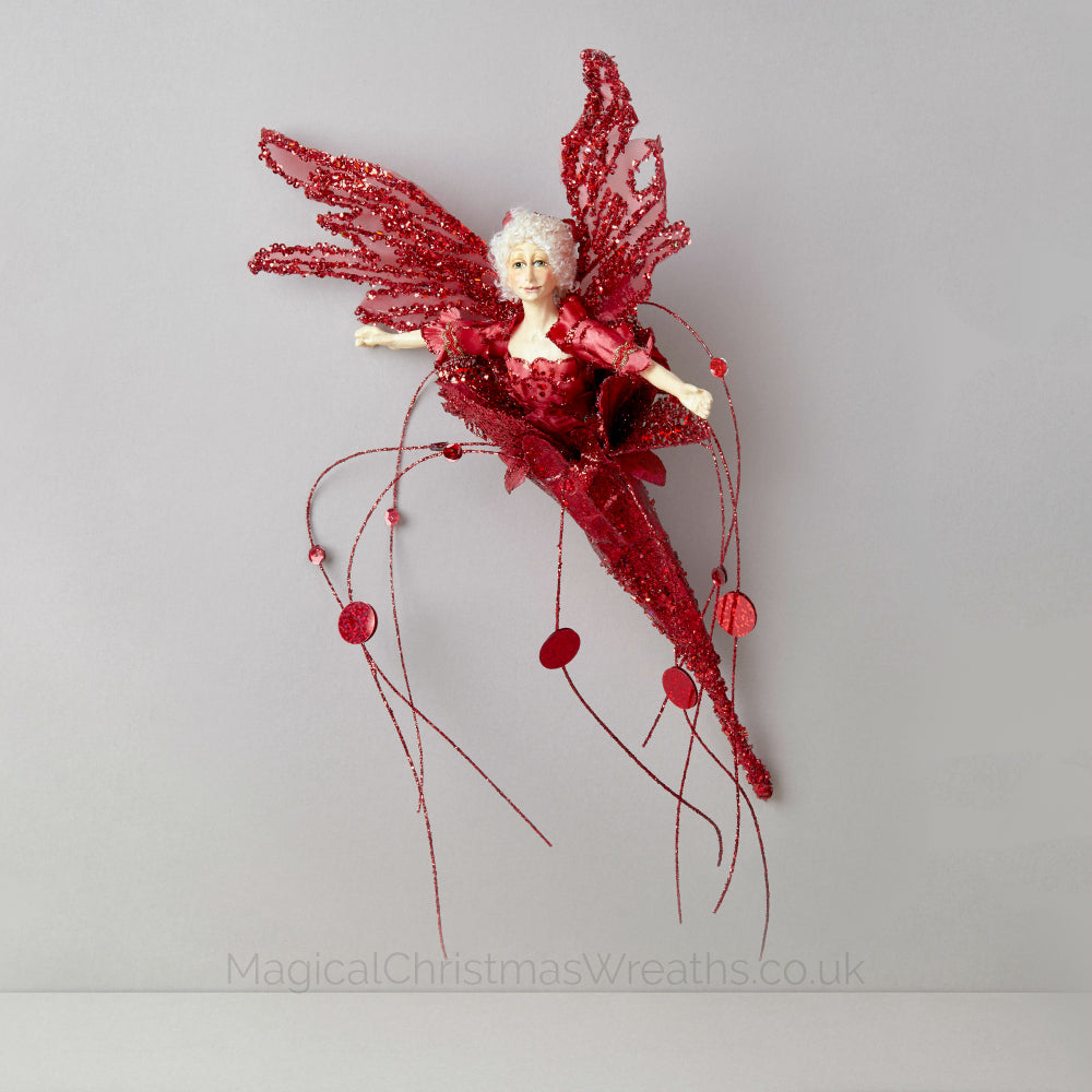 Red Christmas Flower Fairy Ornament