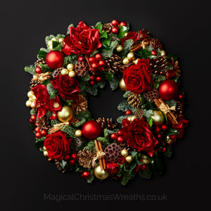 Luxurious Golden Rouge Fresh Christmas Door Wreath