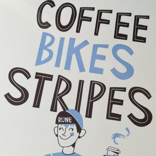 Coffee Bikes Stripes A3 Screen print