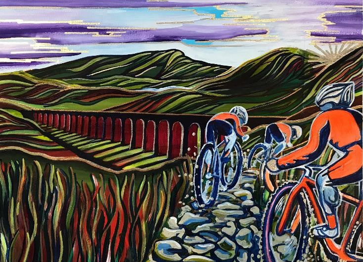 Three Peaks Cyclocross - Ribblehead (original acrylic painting)