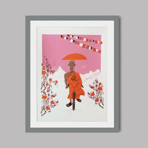 The Cycling Monk A3 Screen Print