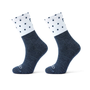 All Season Merino White and Blue with Polka Dot