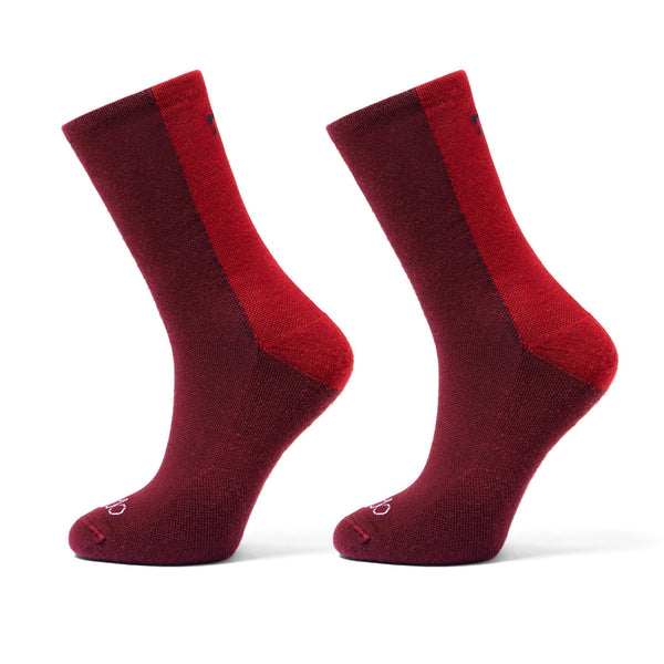 Merino Wool Deep Winter Socks in Red