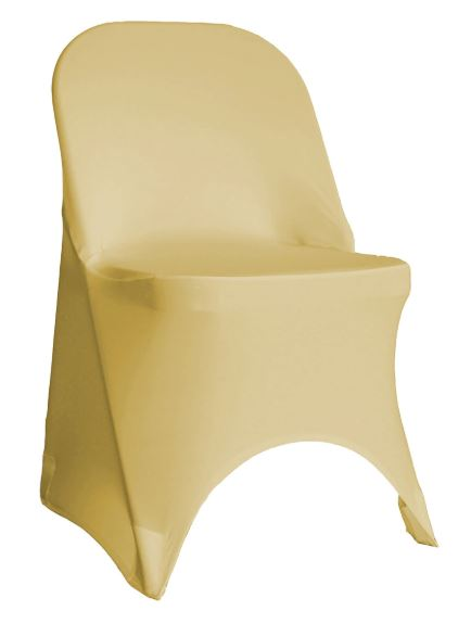 Champagne Spandex Folding Chair Cover - Rent
