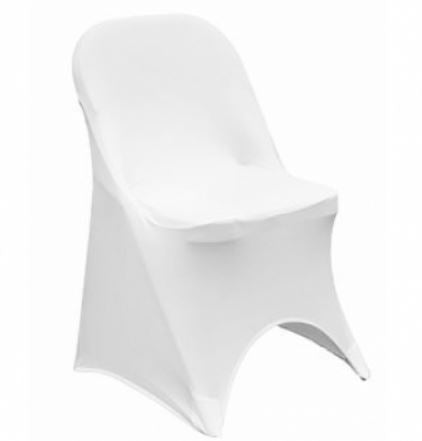 White Spandex Folding Chair Cover - Rent