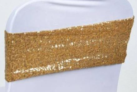 Gold Sequin Spandex Band