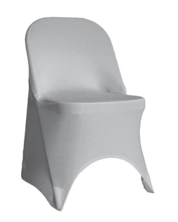 Silver Spandex Folding Chair Cover - Rent
