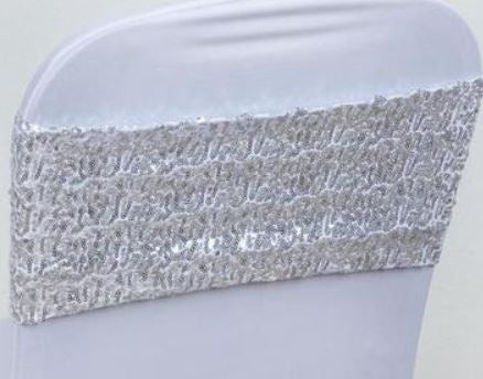 Silver Sequin Spandex Band