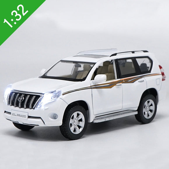 1:32 Scale Diecast Toy Model Toyota Land Cruiser Prado SUV With Sound Light Car Pull back Educational Collection Kids Gift