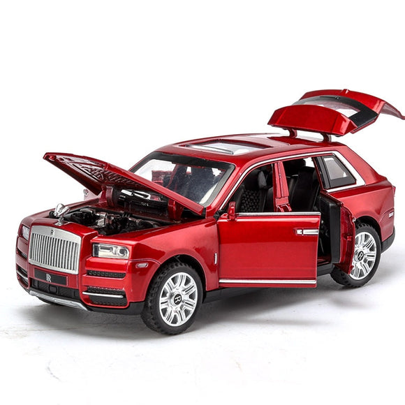 1:32 Scale Rolls Royce Cullinan Diecast Car Metal Model Sound And Light Pull Back SUV 7 Doors Can Be Opened For Kids Gifts Toys