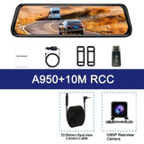 "10"" Touch Screen 1080P Car DVR Dash camera Dual Lens Auto Camera Video Recorder Rearview mirror with 1080P Backup Camera Dvrs"