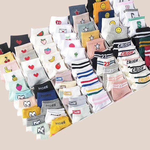 10 pieces = 5 pairs of cute fruit pattern girls ankle socks Korean ladies style fashion short socks happy rainbow striped socks - efair Best spare parts online shopping website
