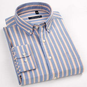 100% Cotton Oxford Mens Shirts High Quality Striped Business Casual Soft Dress Social Shirts Regular Fit Male Shirt Big Size 8XL - efair.co