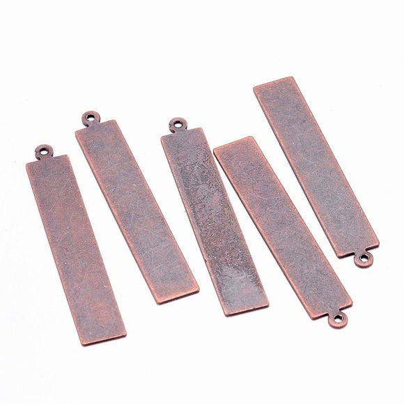 10pc Metal Brass Stamping Tags Pendants Antique Bronze Red Copper Rectangle Square Round Oval Pendants For DIY Jewelry Necklaces - efair.co