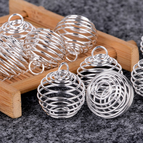 10pcs Shellhard Silver Plated Necklaces Pendants Vintage Spiral Bead Cages DIY Pendant Jewellery Findings 25mm - efair.co