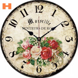 12in Vintage Wooden Wall Clock French Country Style Large Shabby Chic Rustic Round Wall Clock for Kitchen Home Coffee Shop Decor - efair Best spare parts online shopping website
