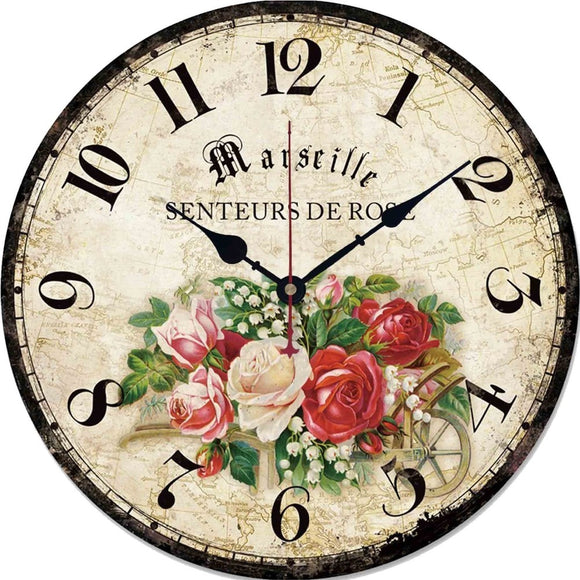 12in Vintage Wooden Wall Clock French Country Style Large Shabby Chic Rustic Round Wall Clock for Kitchen Home Coffee Shop Decor - efair.co