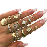 15 Pcs/set Women Fashion Rings Hearts Fatima Hands Virgin Mary Cross Leaf Hollow Geometric Crystal Ring Set Wedding Jewelry - efair Best spare parts online shopping website