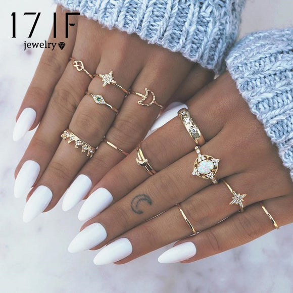17IF 13Pcs/Set Fashion Vintage Star Opal Crystal Finger Ring Set Bohemian Gold Moon Crown Knuckle Midi Rings Women Jewelry Gifts - efair Best spare parts online shopping website