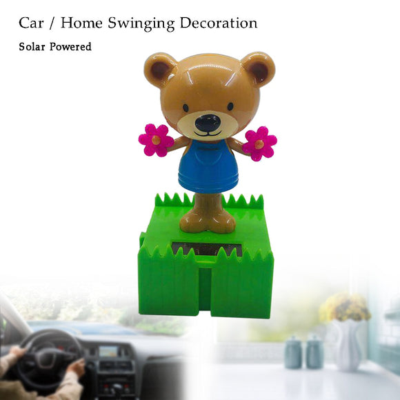 1pcs car universal fashion ornament Solar Powered energy doll Dancing Swinging Animals bear Dancer Toy Decoration dashboard gift - efair Best spare parts online shopping website