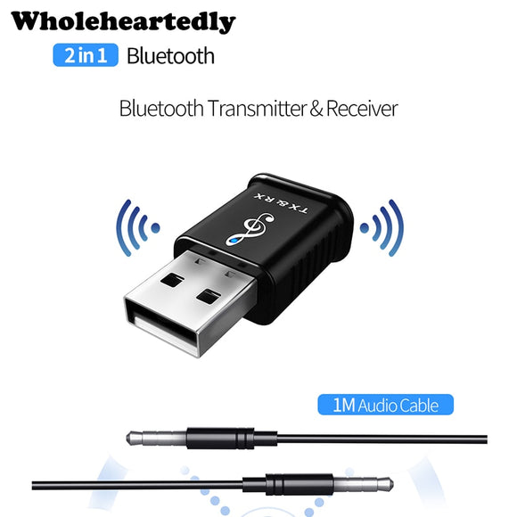 2 in 1 Portable USB Bluetooth 5.0 Transmitter Receiver Car kit Mini 3.5mm AUX Wireless Stereo Audio Adapter For Car Music For TV - efair Best spare parts online shopping website