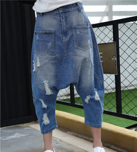 2018 Autumn New Women Loose Denim Pants Streetwear Baggy Hole With Crotch Pants Fashion Harem Jeans Trousers - efair Best spare parts online shopping website