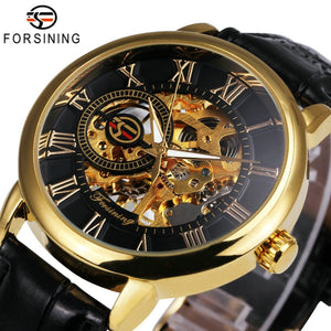 2018 FORSINING 3D Logo Black Gold Men Mechanical Watch Montre Homme Man Watches Top Brand Luxury Leather WINNER Skeleton Design - efair Best spare parts online shopping website