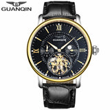 2018 GUANQIN Tourbillon Men's Automatic Mechanical Watch Top brand luxury watch leather waterproof skeleton watches mens clock - efair Best spare parts online shopping website