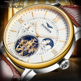 2018 GUANQIN Tourbillon Men's Automatic Mechanical Watch Top brand luxury watch leather waterproof skeleton watches mens clock - efair.co