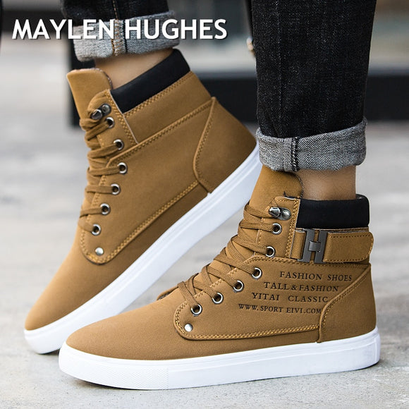 2018 Hot Men Shoes Fashion Autumn Winter Men Snow Boots Leather Footwear For Man New High Top Canvas Casual Shoes Men sneakers - efair.co