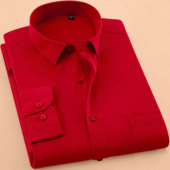 2018 New Autumn Mens Dress Shirt Long Sleeve Casual Pure Color Business Red Stand collar Male Clothing Camisa Masculina Social - efair Best spare parts online shopping website