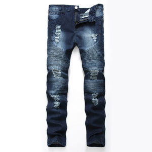 2018 mens Holes retro jean Elastic knee Straight type Slim-fit Button hip hop cowboy pants male Casual large size washed jeans - efair Best spare parts online shopping website