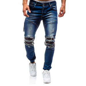 2018 mens cotton Elastic knee hole patch jeans New slim Solid color Washed trousers male hip hop Beam foot pants Pencil pants - efair.co