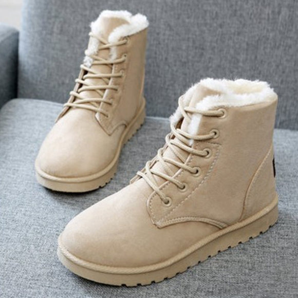 2019 Classic Winter Boots Suede Ankle Snow Boots Warm Female Fashion Women Shoes New Arrival Plush Insole Snow Botas  JA0002 - efair.co
