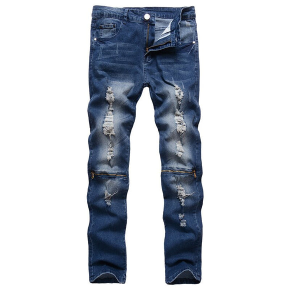 2019 Fashion High Street Men Jeans Hip Hop Broken Hole Zipper Denim Pants Slim Fit Ripped Jeans Men Biker Jeans G3P2 - efair.co