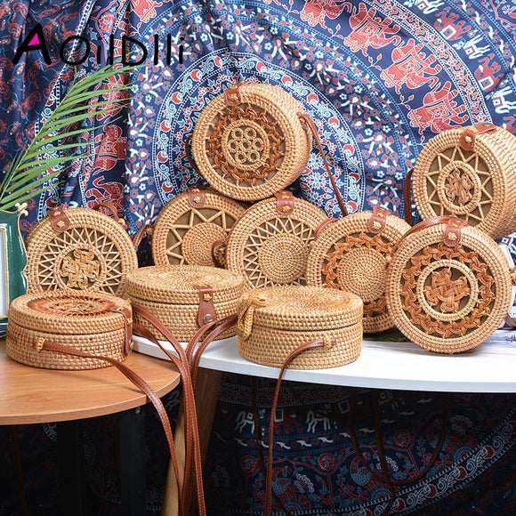 2019 INS Popular Women Handmade Round Beach Shoulder Bag Bali Circle Straw Bags Summer Woven Rattan Handbags Women Messenger Bag - efair Best spare parts online shopping website