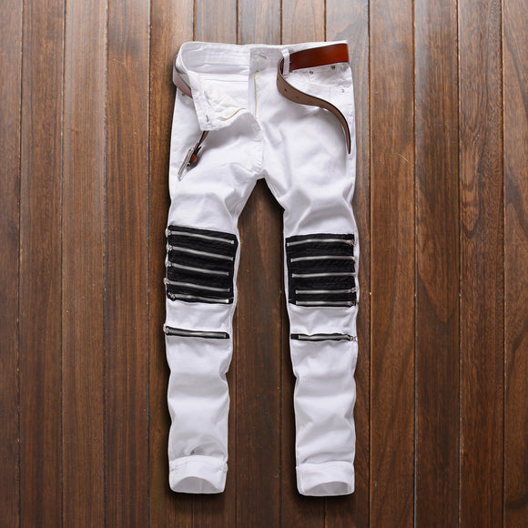 2019 Knee Hole Ripped Skinny Jeans for Men High Stretch Slim Elastic Pencil Pants White Trousers plus size J8K9 - efair.co