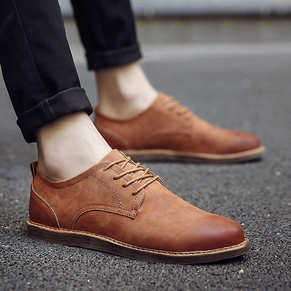 2019 Luxury Brand Men's Leather Shoes Spring Autumn Rerby Shoes Oxfords Fashion Casual Dress Shoes Man Business Lace-up Non-slip - efair Best spare parts online shopping website