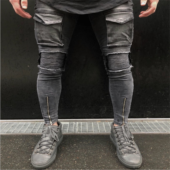 2019 Men Ripped Hole Biker Jeans Skinny Slim Frayed Zipper Denim Trousers Men New Fashion Casual Skinny Jeans - efair.co