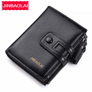 2019 Men Wallets Short PU Leather Double Zipper Hasp Men Purses Card Holder Coin Pocket Vintage High Quality Brand Men Wallets - efair.co