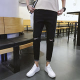 2019 New Men's Jeans Casual Streetwear Patchwork Broken Hole Elastic Ripped Jeans for Men Ankle Length Pencil Pants - efair Best spare parts online shopping website