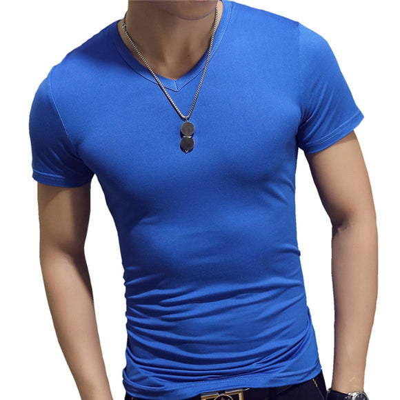 2019 New Summer Solid Men's T-shirt Fashion V Neck Short Sleeve T Shirt Men Clothing Trend Casual Slim Fit Top Tees - efair Best spare parts online shopping website