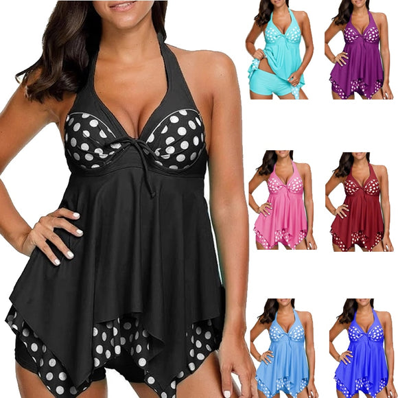 2019 Women Polka Dot Print Tankini Set Two Piece Plus Size Swimsuit Halter Big Swimwear Female Bathing suits XL to 5XL Biquini - efair Best spare parts online shopping website