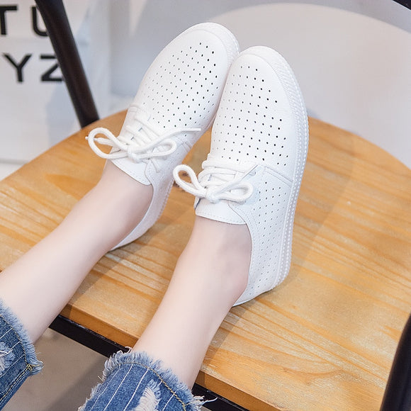 2019 Women Shoes Summer New Fashion Casual Flats PU Leather Mesh Simple Women Casual Girl Soft White Shoes Sneakers hjm78 - efair Best spare parts online shopping website