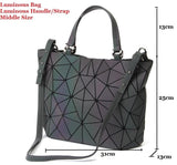 2019 luminous bag New Women's Geometric Handbag Laser Plain Folding bag Hologram Geometry Casual Totes for girls Free Shipping - efair Best spare parts online shopping website
