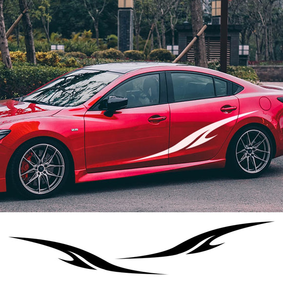 2pcs Car Racing Sports Sticker Auto Vinyl Side Skirts Decal Funny Stylish Graphic Car DIY Styling Sticker Car Tuning Accessories