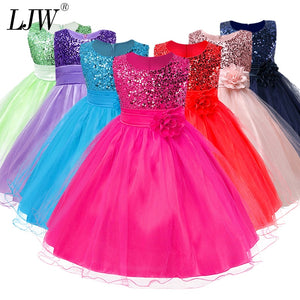 3-14yrs Hot Selling Baby Girls Flower sequins Dress High quality Party Princess Dress Children kids clothes 9colors - efair.co