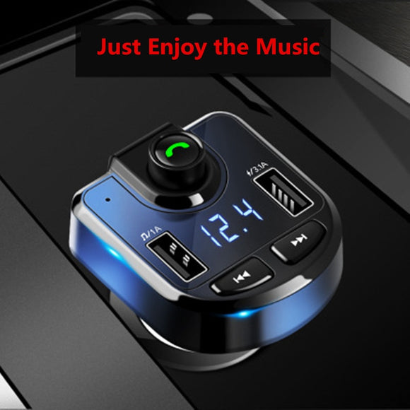 3.1A Handsfree Bluetooth Car Kit Dual USB Phone Fast Charger FM Transmitter Stereo Audio MP3 Music Receiver Bluetooth Adapter TF - efair.co